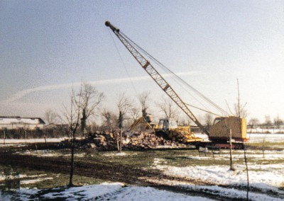 Demolishing the block houses